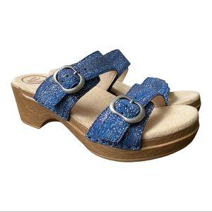 Dansko New Women's Sandal Sophie Leather Blue Metallic size 38